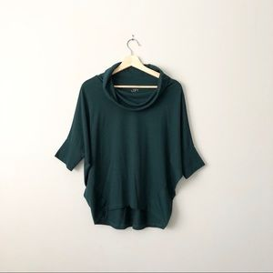 Ann Taylor Loft Green Bat Sleeve Cowl Neck Top